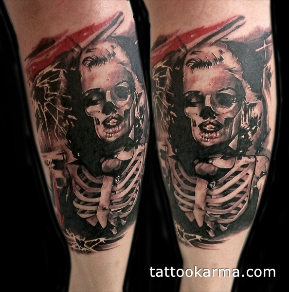 594x600 Dead Marilyn Monroe Tattoo