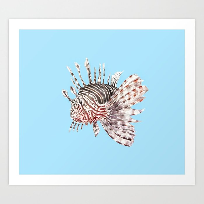 700x700 Watercolor Lionfish Tropical Fish Marine Life Painting Art Print