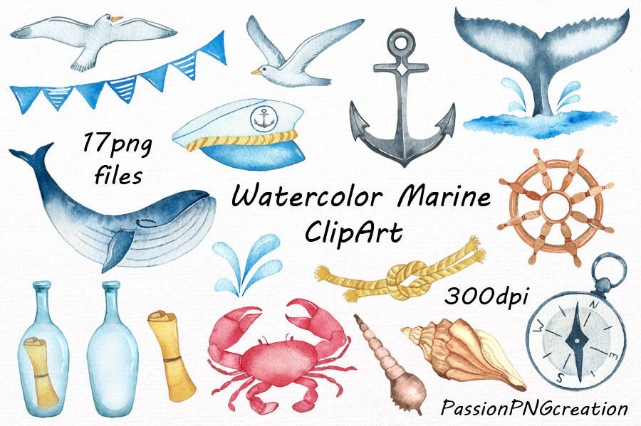 900x599 Watercolor Marine Clipart Nautical Watercolor Clip Art Png Etsy