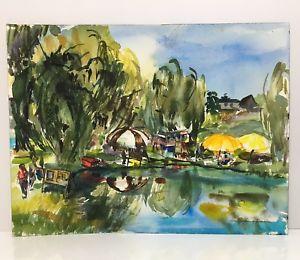 300x260 Jean Harding Brown Watercolor Signed Original Vibrant Landscape