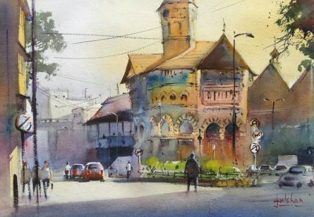 445x308 A Market Of Beauty By Artist Gulshan Achari Cityscape Art