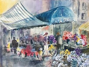 300x225 Original Watercolor Painting French Street Scene Flower Market