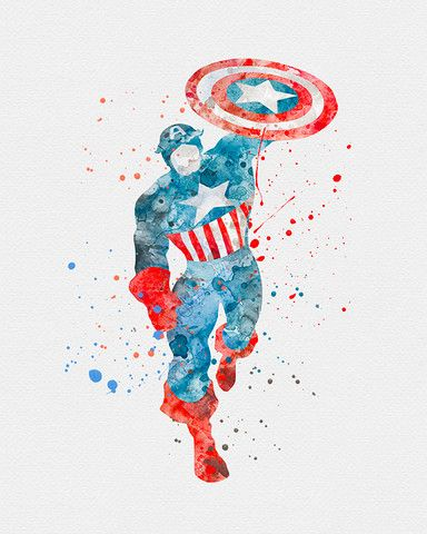 384x480 Captain America Watercolor Art Print