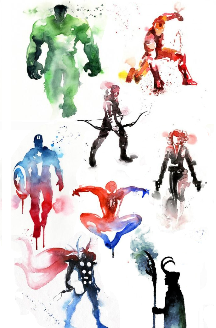 686x1044 Marvel , Watercolor , Captain America , Spiderman , Thor, Loki