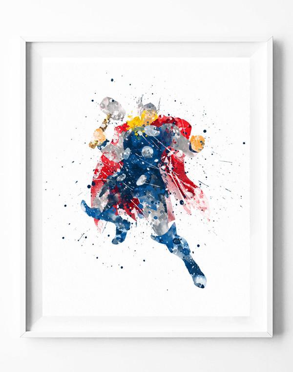 600x761 Thor Art Print Avengers Poster Marvel Superhero Watercolor