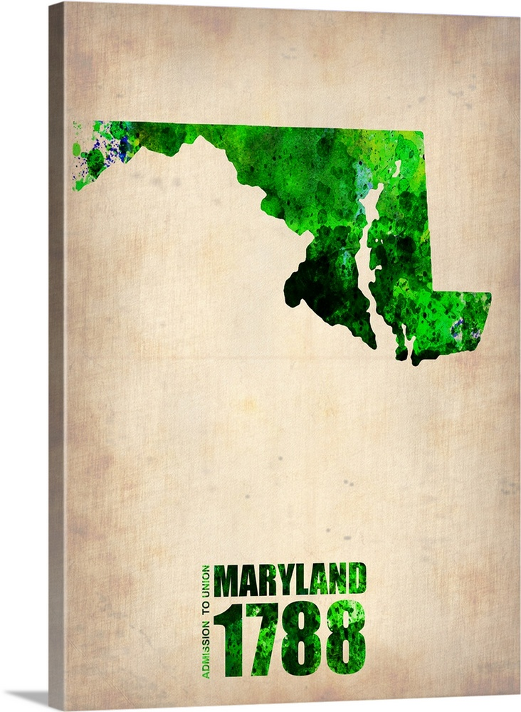 732x1000 Maryland Watercolor Map Wall Art, Canvas Prints, Framed Prints