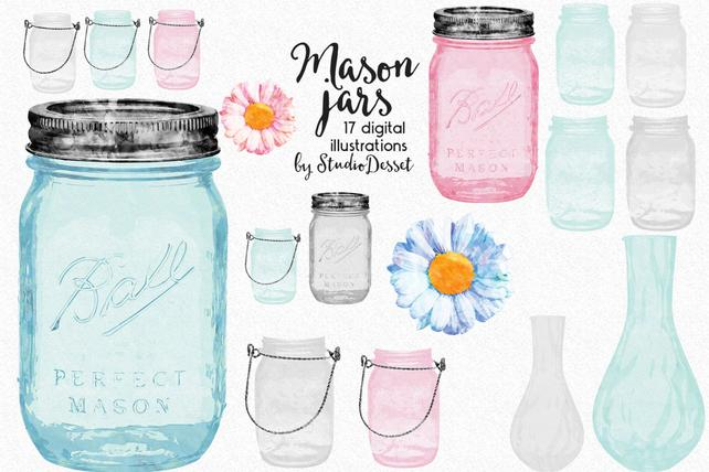642x428 Mason Jars Cliparts Watercolor Jars Vases Clip Art Daisy Etsy