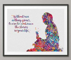 300x253 Buddha Watercolor Print Quote Art Meditation Yoga Zen Buddhism