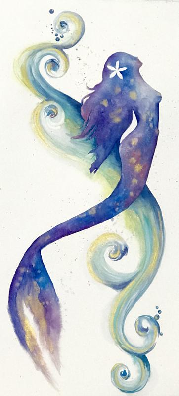 Mermaid Paintings Watercolor