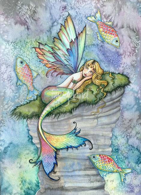 470x650 Leaping Carp Colorful Watercolor Mermaid Art Print By Molly Harrison