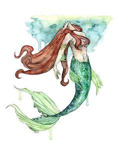 236x295 Mermaid Painting, Watercolor Painting, Mermaid Print, Mermaid