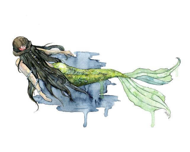 642x513 Mermaid Painting Watercolor Painting Mermaid Print Beach Etsy