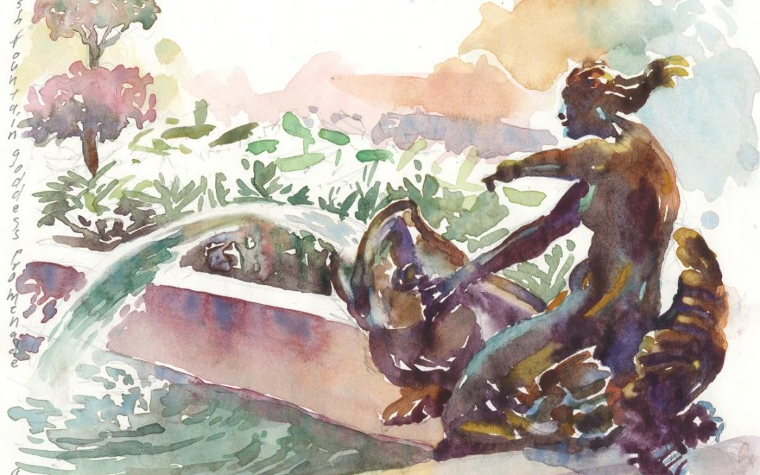 1080x675 5th Ave Mermaid Watercolor Painting Of Sculpture Frank Costantino