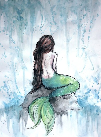 406x550 Mermaid Watercolor Painting Posters By Ivegotartitude Redbubble
