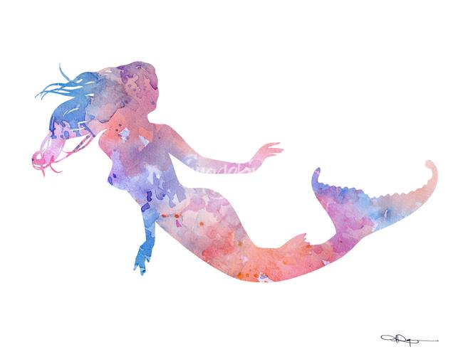 650x502 Stunning Mermaid Watercolor Painting Reproductions For Sale On