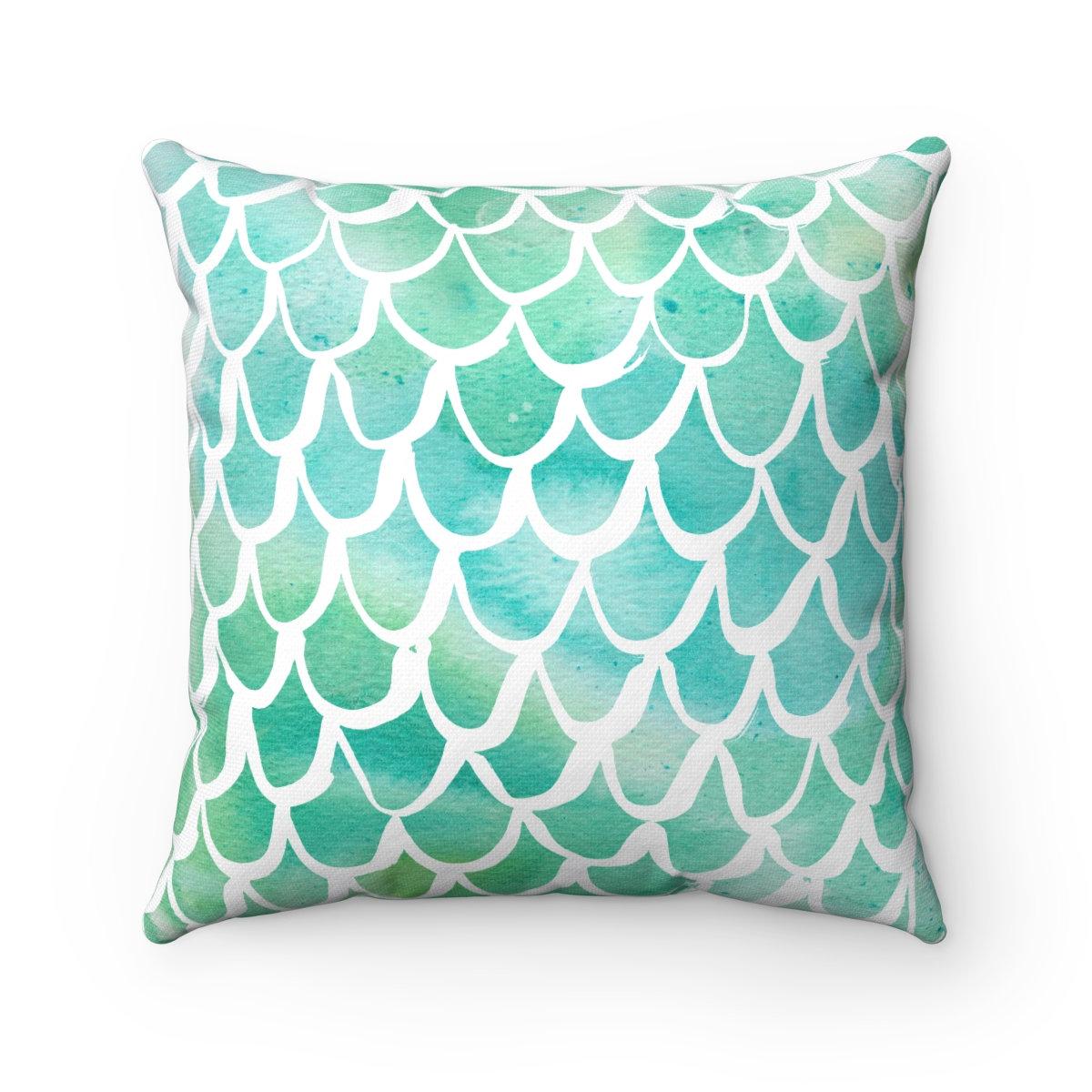 1200x1200 Mermaid Throw Pillow . Watercolor Pillow . Mermaid Cushion . Aqua