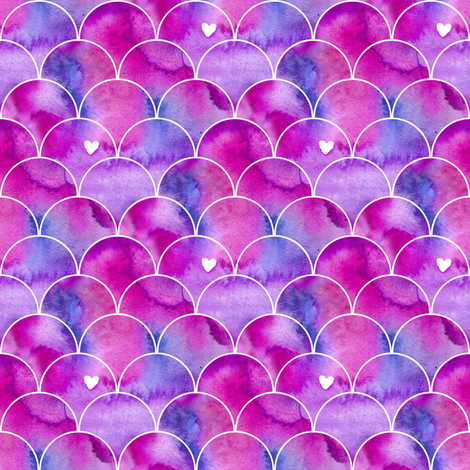 470x470 Small Scale Mermaid Tail Pink Watercolor Scallops Wallpaper