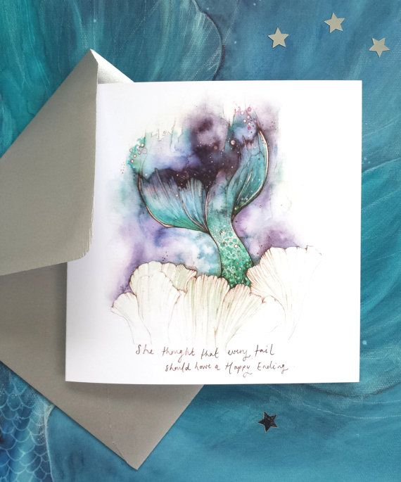 570x685 Card Every Tail, Watercolor Mermaid Tail Quote