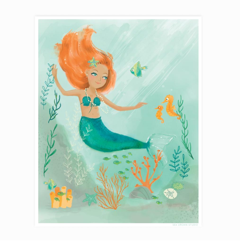 1015x1024 Mermaid Watercolor Sea Urchin Studio