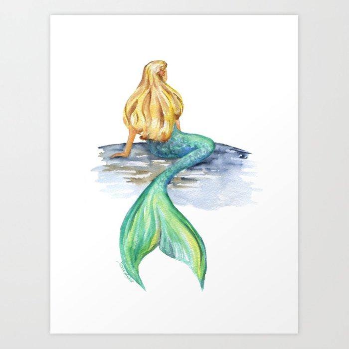 700x700 Mermaid Watercolor Art Print By Susanwindsor Society6