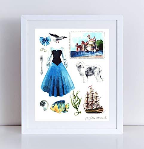 482x500 The Little Mermaid Art Collage Disney Princess Art