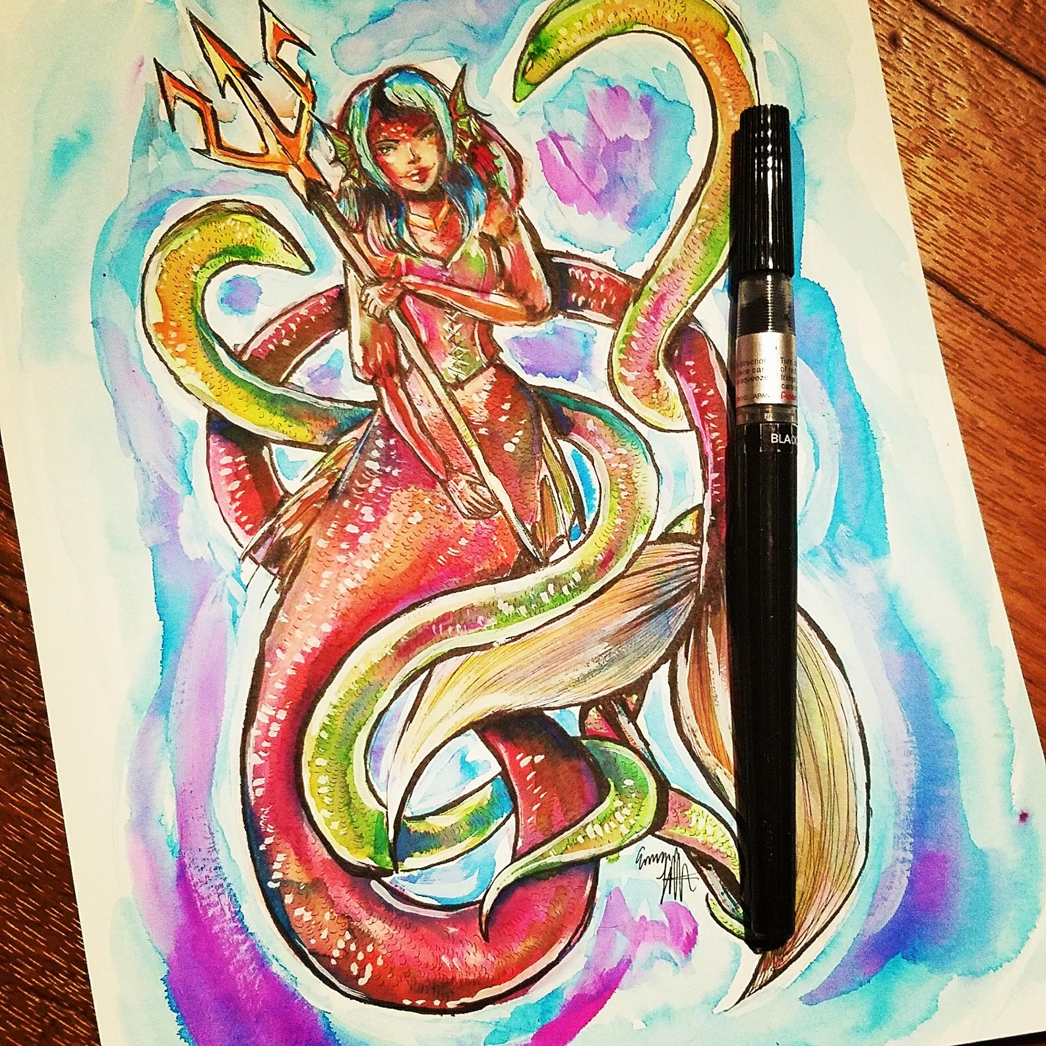 2048x2048 Mermaid Watercolor Painting Discombobble Art Online Store