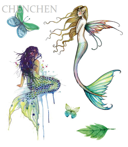 496x567 Mermaid Watercolor Temporary Tattoo Sticker For Body Art Water
