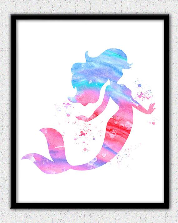 570x713 Mermaid Wall Art Pink Mermaid Watercolor Print Ariel Print Etsy