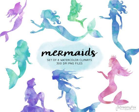 570x459 Mermaid Watercolor Clipart Watercolor Mermaid Clipart Etsy