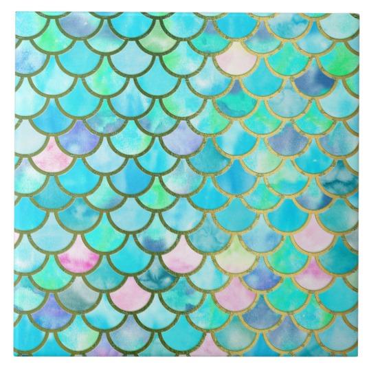 540x540 Spring Mermaid Watercolor Scales Mermaidscales Tile