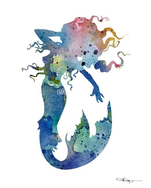 520x650 Stunning Mermaid Watercolor Painting Reproductions For Sale On