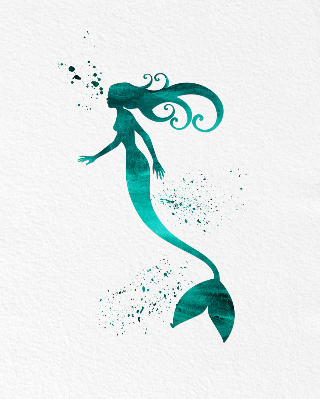 1200x1500 Watercolor Art Mermaid Modern 8x10 Wall Art Decor Mermaid Number 2