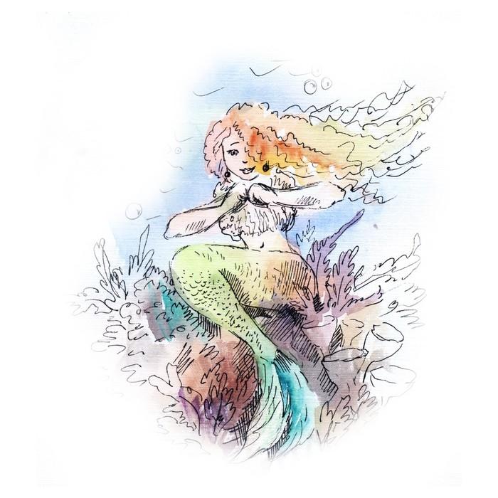 700x700 Mermaid Watercolor Wall Mural We Live To Change
