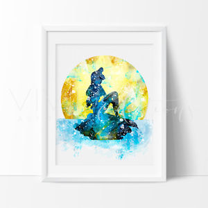 300x300 Ariel Little Mermaid Watercolor Nursery Art Print Kids Decor Wall