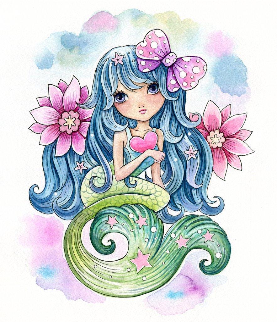 883x1024 Cute Mermaid