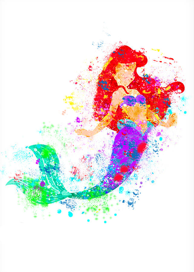 642x900 Disney Ariel Little Mermaid Watercolor Digital Art By Midex Planet