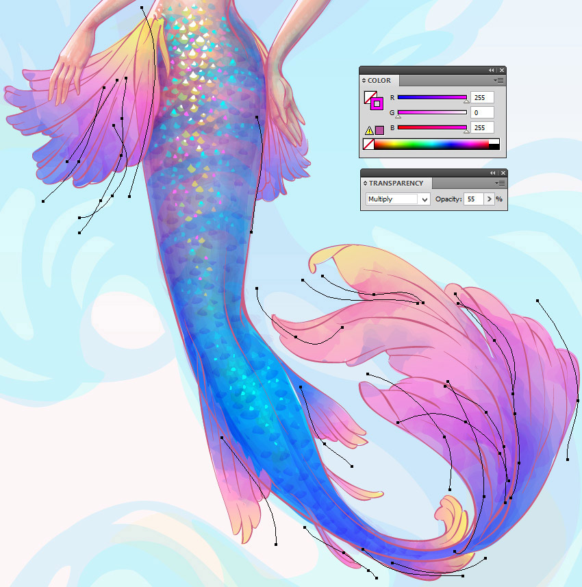 850x857 How To Create A Watercolor Mermaid Illustration In Adobe Illustrator