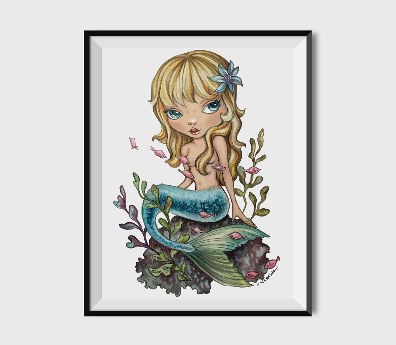 1500x1305 Cute Mermaid Watercolor Art Print Lowbrow Blonde Etsy