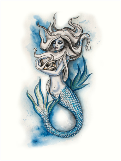 413x549 Evil Mermaid Watercolor Art Prints By Ahoeffer23 Redbubble