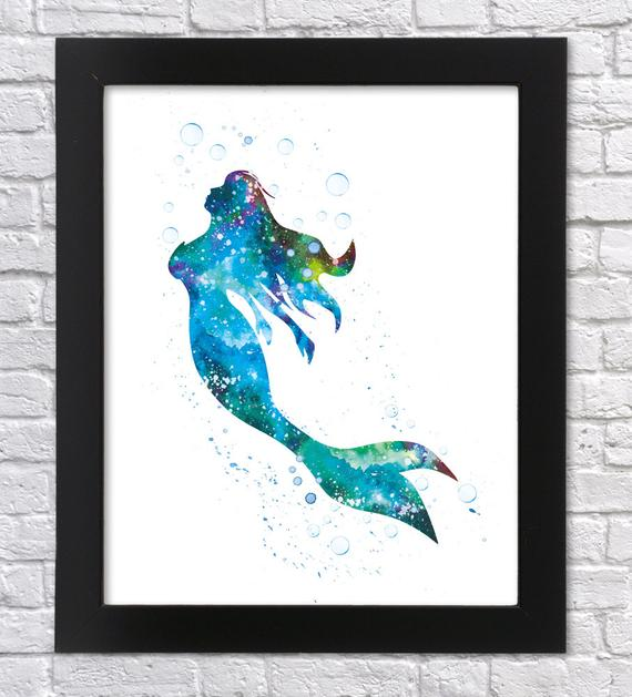 570x629 Little Mermaid Watercolor Art Printable Art Ariel Poster Etsy