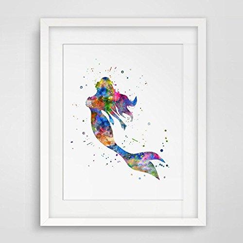 500x500 Colorful Fine Art Print Watercolor Mermaid Fish Poster
