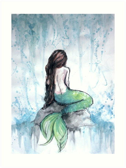 413x549 Mermaid Watercolor Painting Art Prints By Ivegotartitude Redbubble