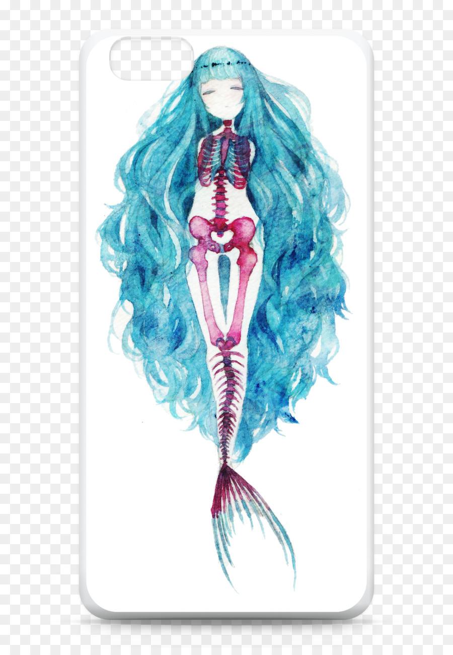 900x1300 Mermaid Watercolor Painting Drawing Art