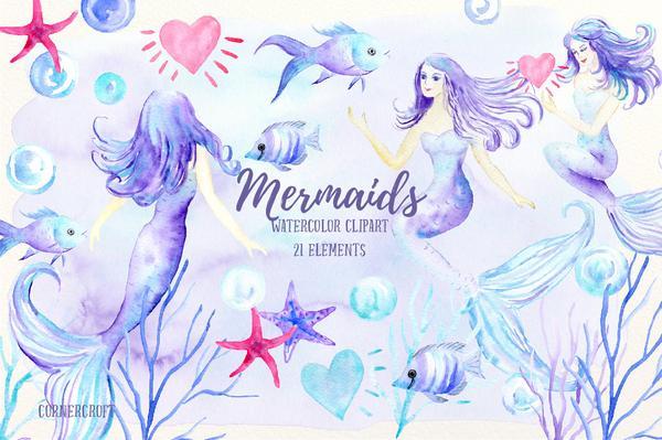 600x399 Mermaid Clip Art, Watercolor Mermaid, Mermaids, Fish, Instant