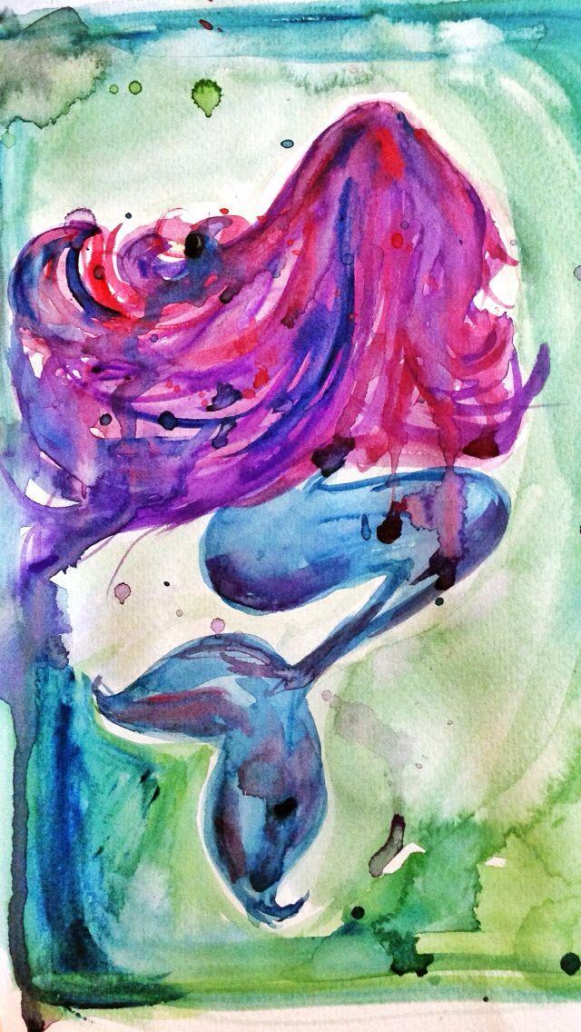 640x1136 Mermaid Watercolor Art Mermaid Art Watercolor Art