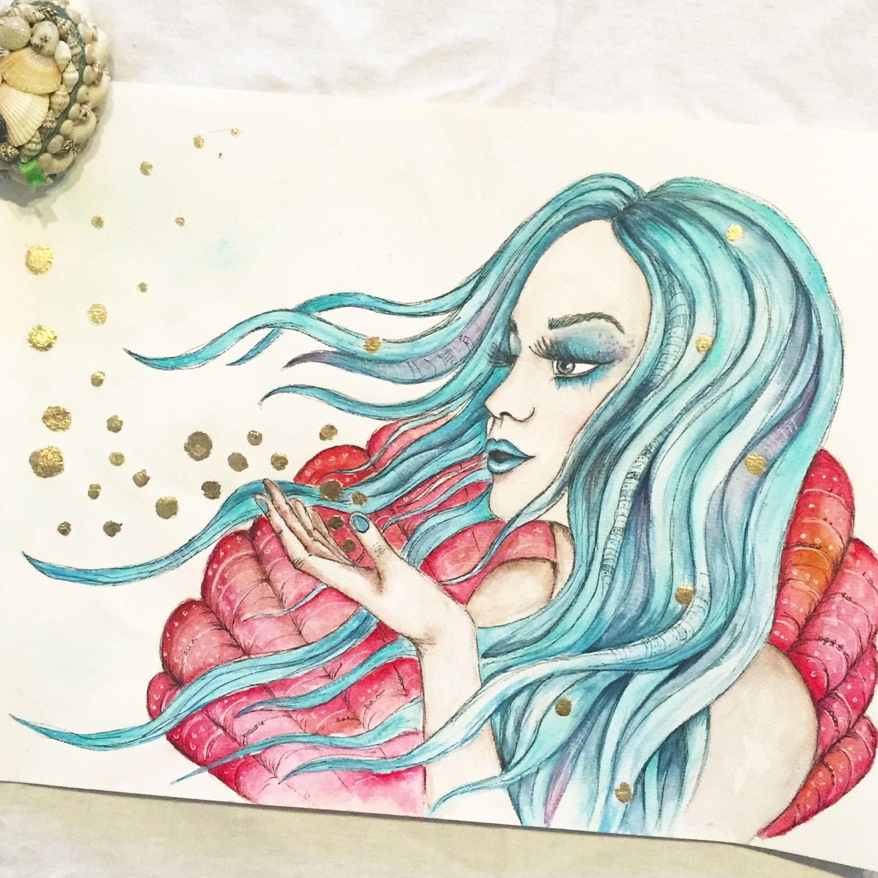 1778x1778 Mermaid Watercolour Art Painting, Blue Hair, Fantasy, Mystic Art