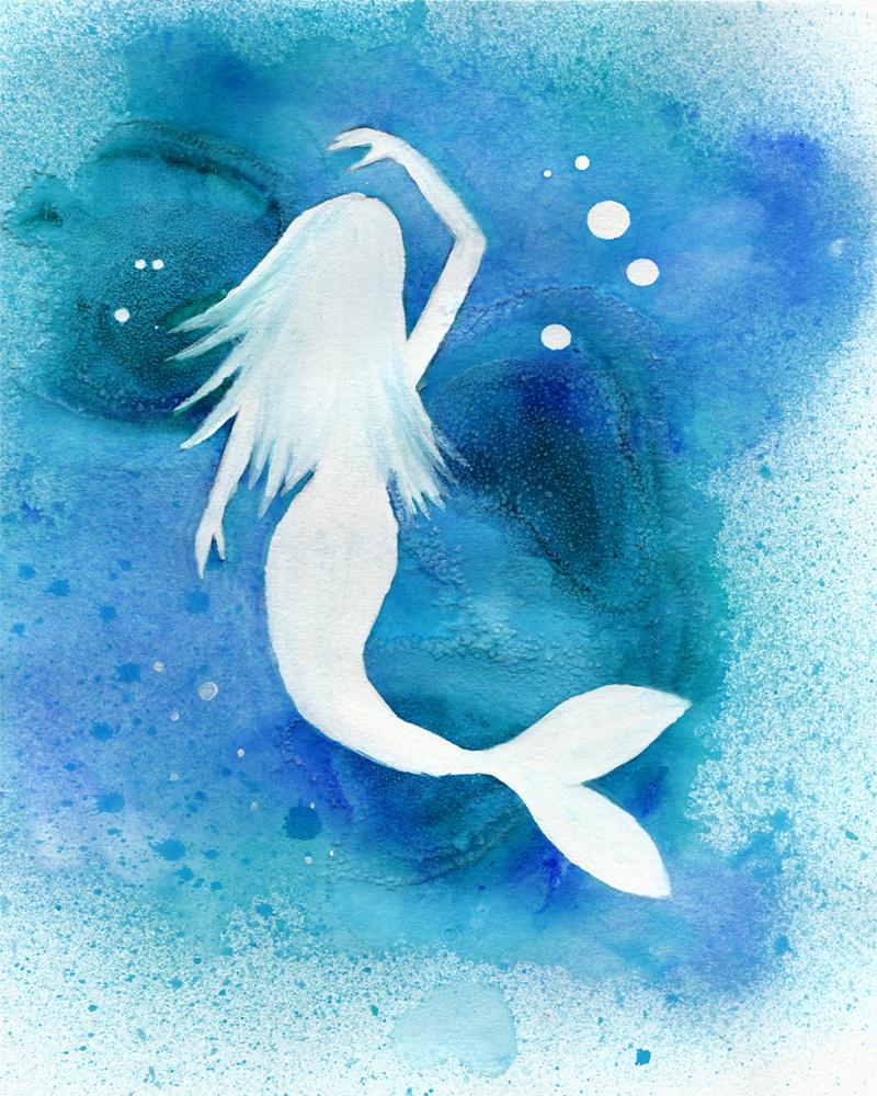 800x1000 Saltwater Mermaid {Watercolor Painting} By Larenaissancegirl On