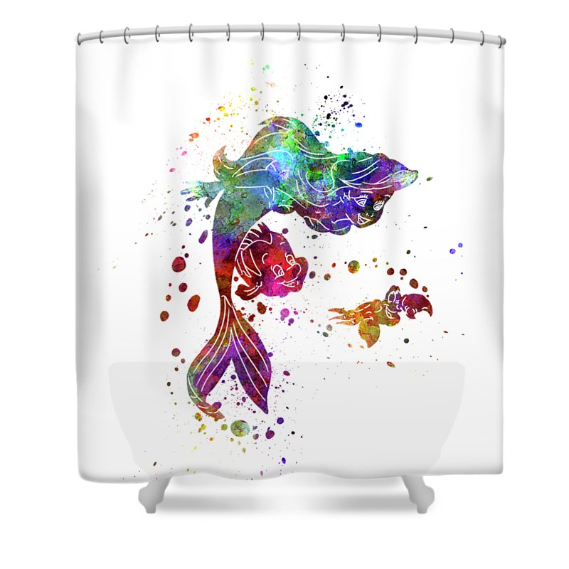 800x800 The Little Mermaid Watercolor Art Shower Curtain For Sale By Pablo