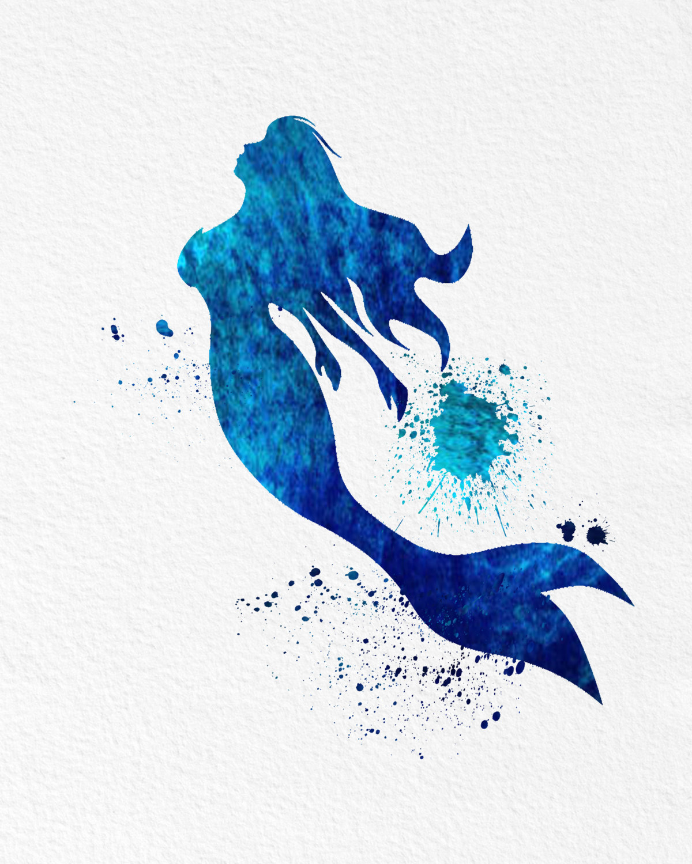 1200x1500 Watercolor Art Mermaid Legend Of The Sea Gift Modern 8x10 Wall Art