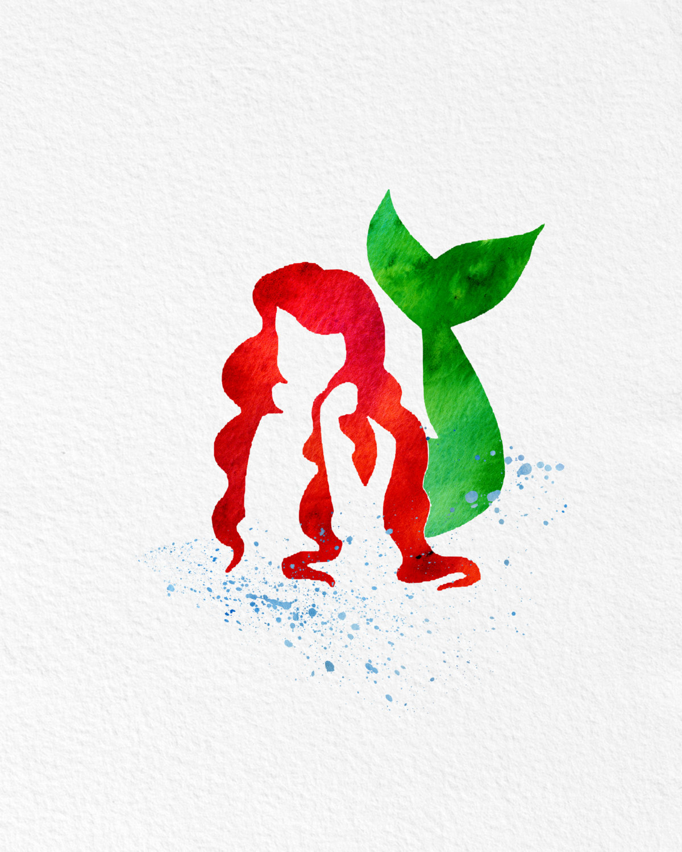 1200x1500 Watercolor Art The Little Mermaid Gift Modern 8x10 Wall Art Decor